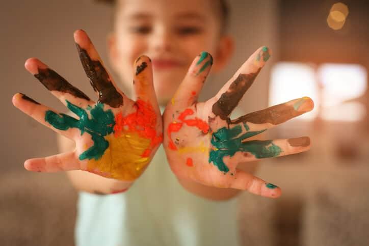 ילד, צבעים, דיו.