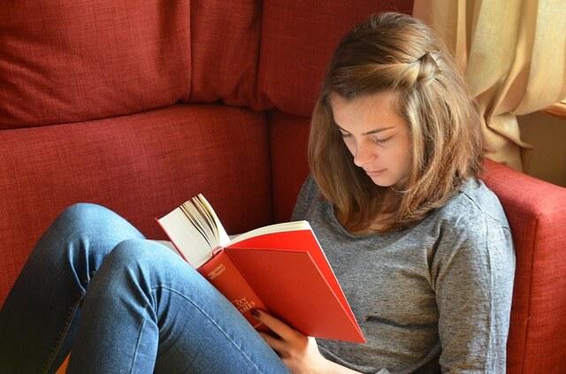 אישה קוראת ספר על ספות