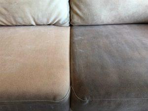 ניקוי ספות בד דוחה כתמים לפני ואחרי