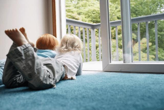 ילדים, שטיח, חלון, נוף