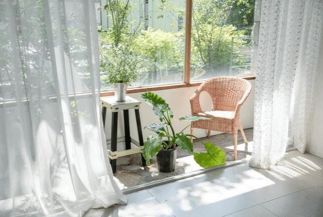 וילונות נקיים, בית, מרפסת, חלון